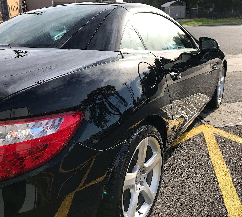 Mercedes SLK 250 solid black 2 stage paint correction